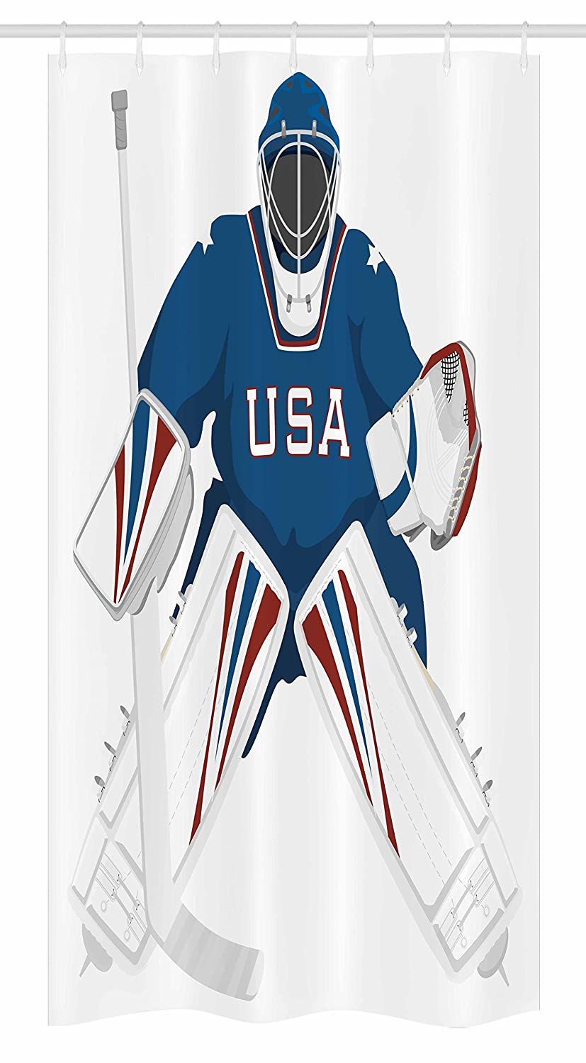 Team USA Hockey Goalie Protection Jersey Sport Wear Illustrations Fabric Bathroom Decor Set with Hooks 36 W x 72 L inches, Ambesonne Sports Decor Stall Shower Curtain