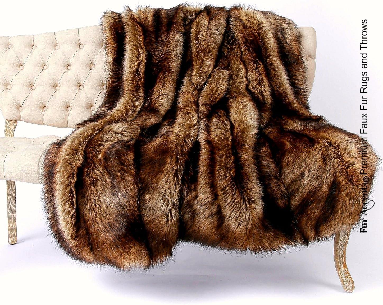 Plush Gray Off White Brown Faux Fur Throw Blanket Luxury Fur Minky Fur Lining