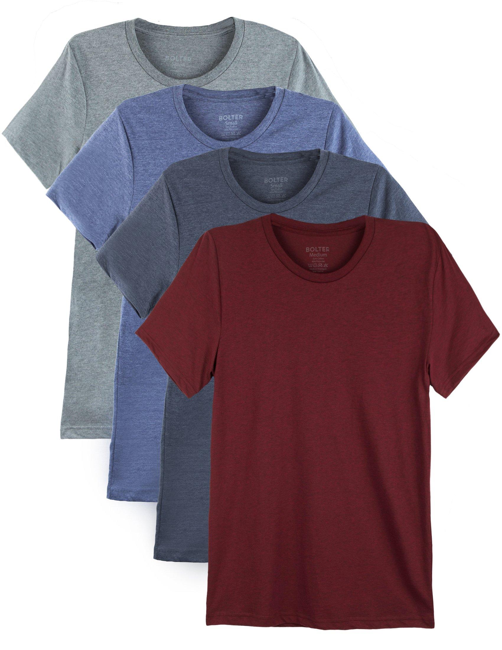 Bolter 4 Pack Men's Everyday Cotton Blend Short Sleeve T-Shirt (Large, H.Car/H.Roy/H.NVY/H.Slt)