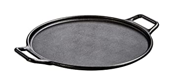 Lodge 14 Inch Cast Iron Baking Pan. Pre-Seasoned Round Baking Pan with Dual Loop Handles for Pizza or Baking Frying Pans at amazon