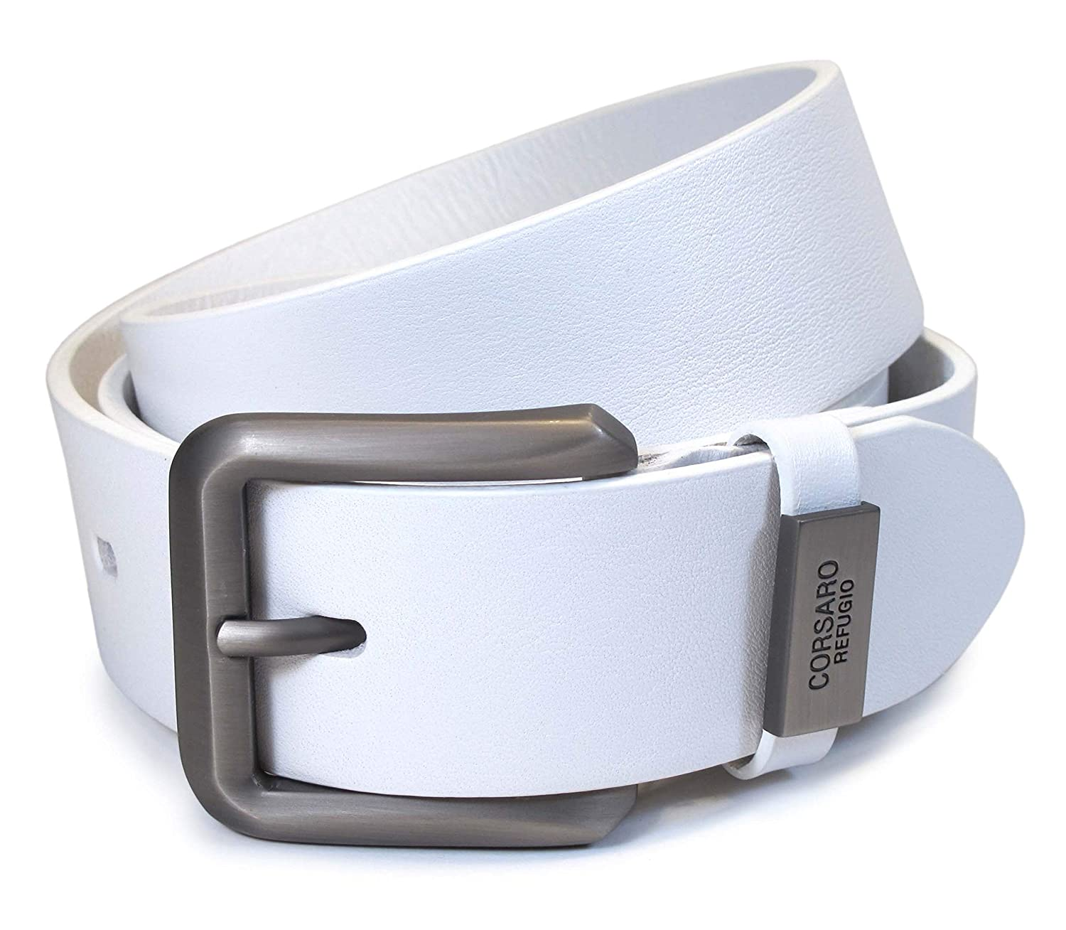 CM2 Mens Real Genuine Leather White Belt 1.5 Wide S-XL Thick Long Casual Jeans
