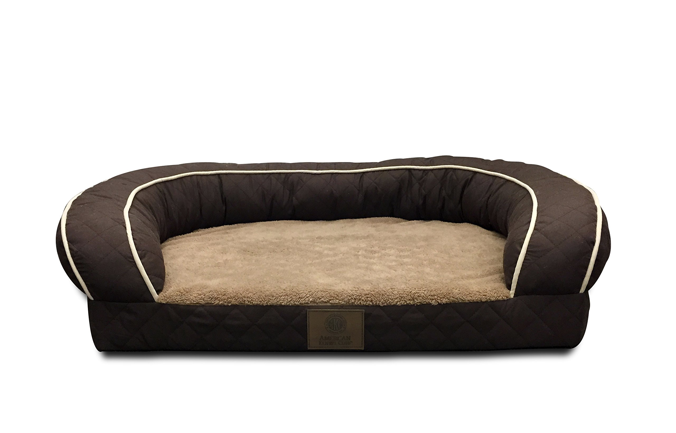 AKC Sweet Dreams Jumbo Quilted Orthopedic Pet Sofa Couch Bed with Bolster Sides, Machine Washable, Ideal For Medium Size Breeds by American Kennel Club
