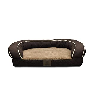 AKC Sweet Dreams Jumbo Quilted Orthopedic Pet Sofa Couch Bed with Bolster Sides, Machine Washable, Ideal For Medium Size Breeds, Brown