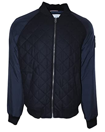3f29d6e7 Tommy Hilfiger Men's Wool Blend Zip Front Quilted Bomber Jacket, Midnight  (X-Large