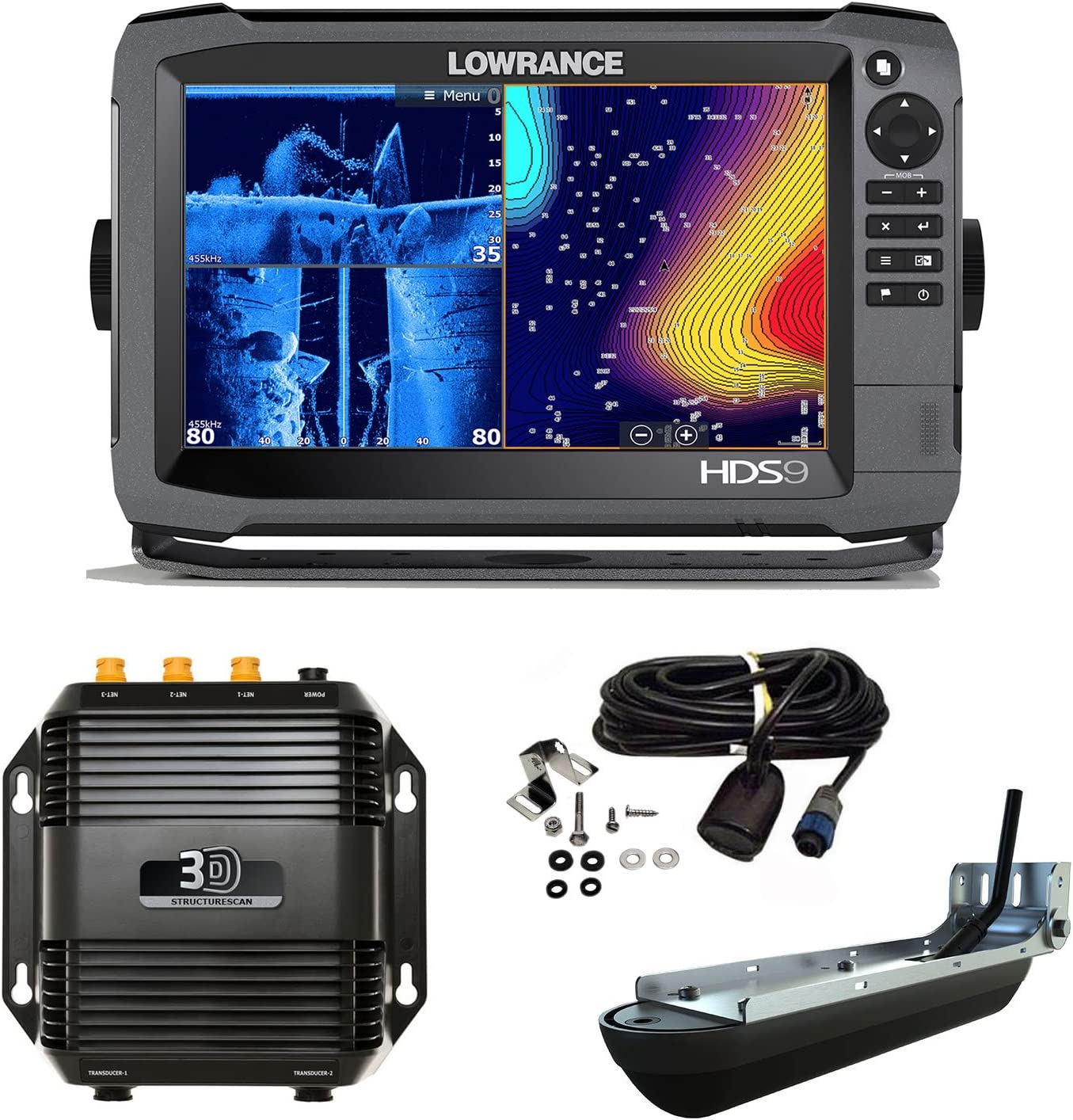Lowrance HDS 9 Gen3 Transductor Med/High/StructureScan 3D: Amazon ...