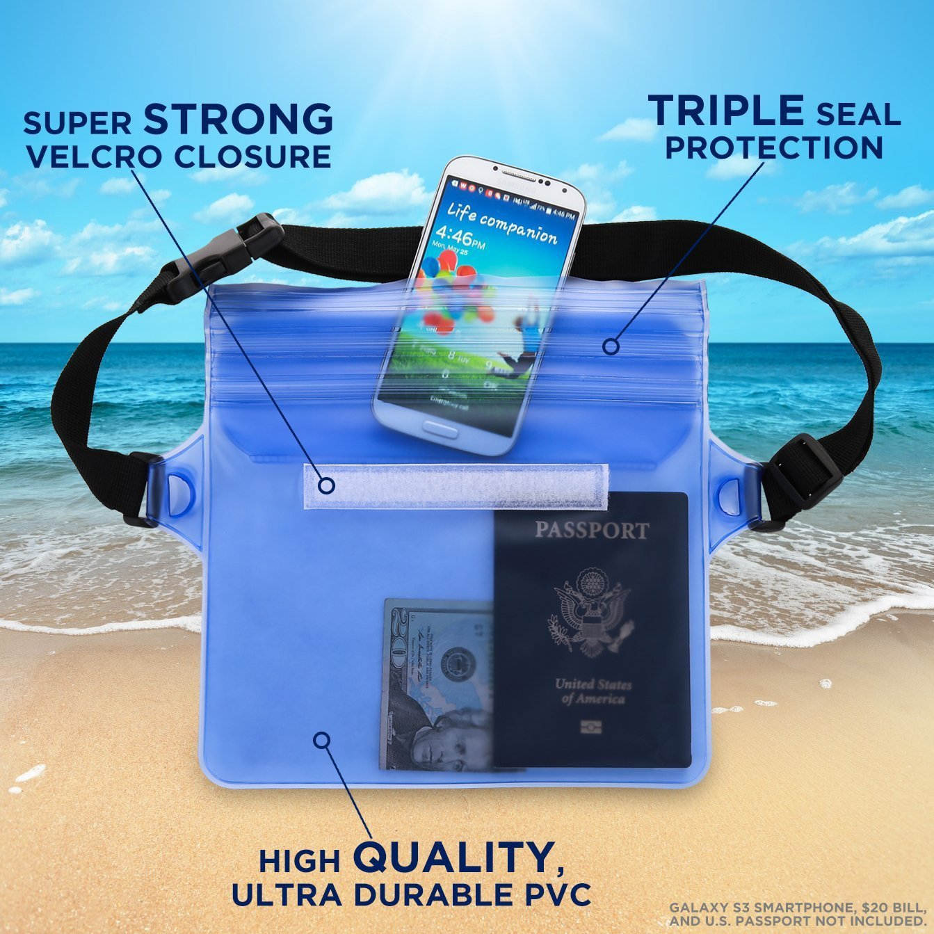 HECOPRO Waterproof Pouch with Waist Strap (2 Pack) Best Way to Keep Your Phone and Valuables Safe and Dry Perfect for Boating Swimming Snorkeling Kayaking Beach Pool Water Parks (Black + Blue)
