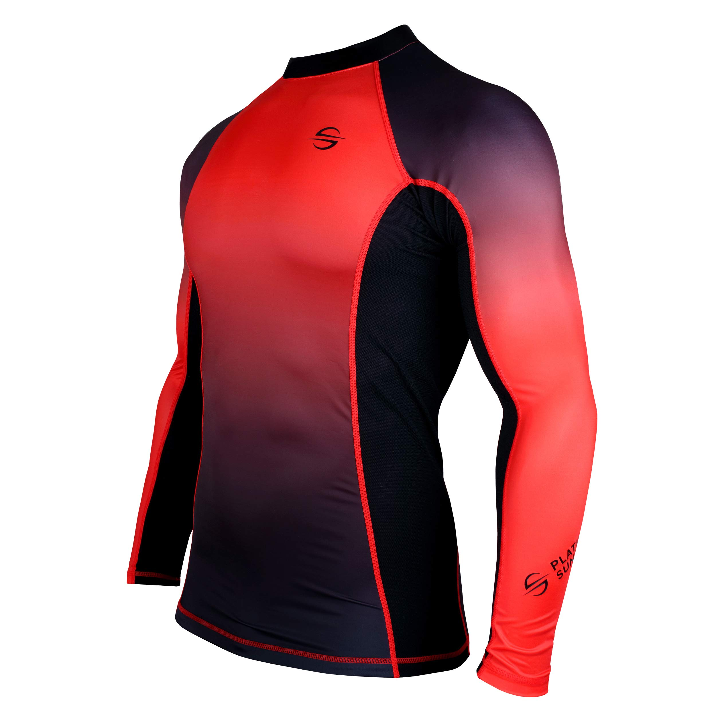 Mens Rash Guard Long Sleeve Surf Shirt Swimsuit - Quick Dry Sun Protection Clothing UPF 30+ (Red, L) by Platinum Sun