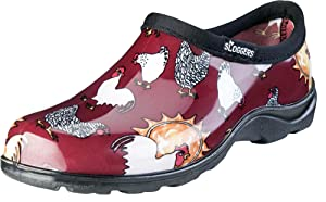 Sloggers Women's WaterproofRain and Garden Shoe with Comfort Insole, Chickens Barn Red, Size 11, Style 5116CBR11