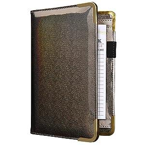 CoBak Server Book - Waitress Book Organizer with Zipper Pouch for Restaurant Waitstaff, Cute Serving Book, 5 Large Pockets with Pen Holder, Sparkling Gray.