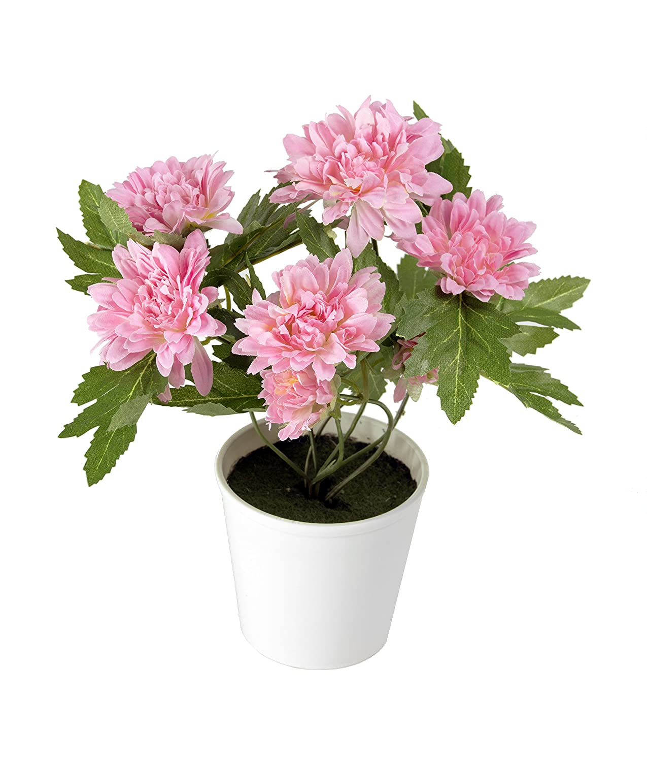 Closer2Nature Artificial 26cm Yellow Chrysanthemum Plant in a Decorative White Pot Artplants C033D