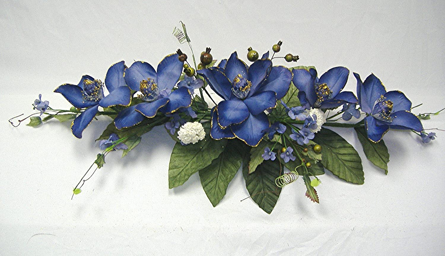 Wedding Flowers 2' Gold Trimmed Magnolia Dogwood Swag Silk Arch Home Party Decor (Blue) Made in China