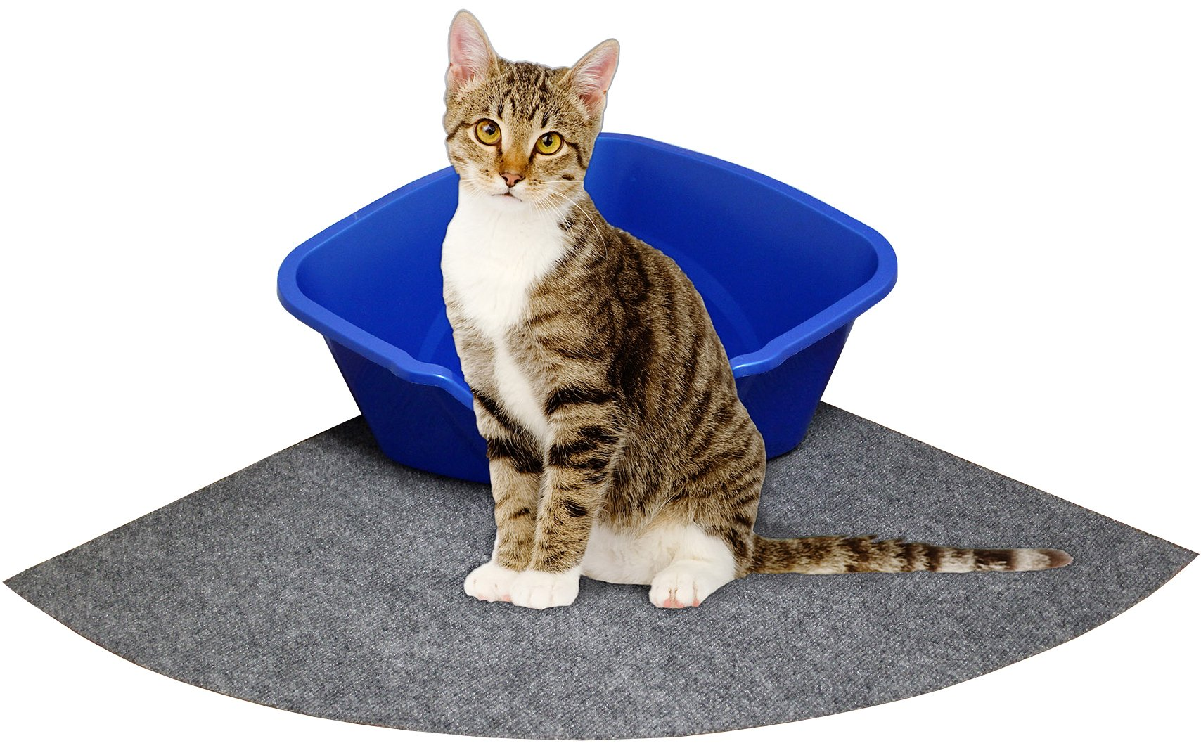 """Drymate Litter Mat Corner Cat Litter Mat, Size 29.5"""" x 29.5"""" Extra Large Litter Box Mat, Fits - Corner Cat Litter Box"""