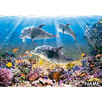 Puzzle 500 Teile - Dolphins Underwater - inkl. Name ...