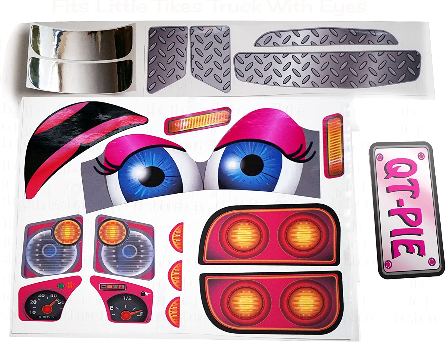 The Toy Restore Replacement Decals fits Little Tikes Cozy Coupe Older Truck with Eyes QT-Pie Pink