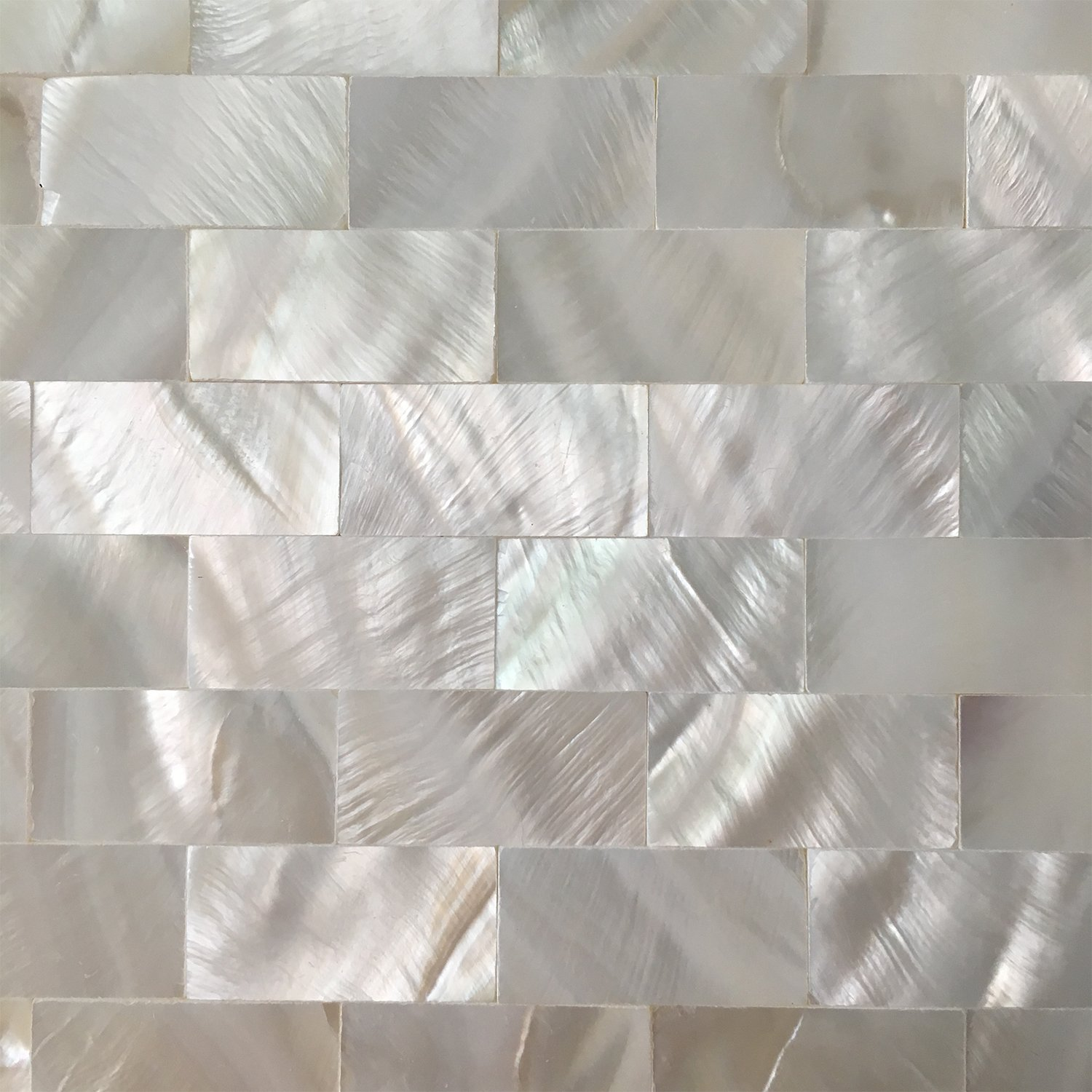 Art3d 6-Pack Peel and Stick Mother of Pearl Shell Tile for Kitchen Backsplashes, 12'' x 12'' White Brick by Art3d