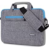 BRINCH 15-15.6 Inch Multi-functional Suit Fabric Portable Laptop Sleeve Case Shoulder Messenger Bag Briefcase for Laptop, Tablet, Macbook, Notebook - Grey-Blue