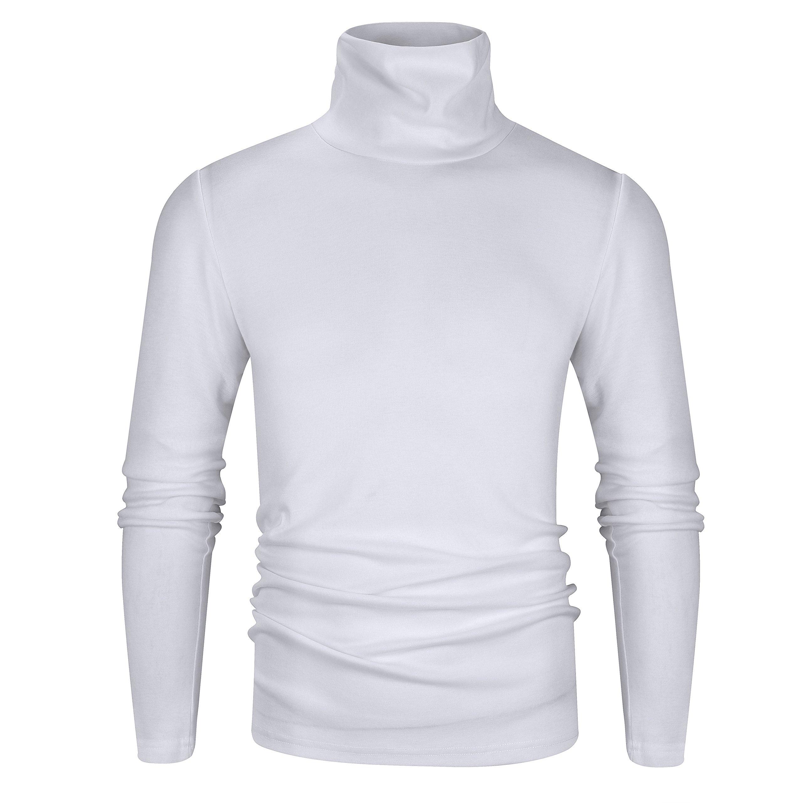 Derminpro Men's Thermal Turtleneck Soft Long Sleeve T-Shirt White X-Large