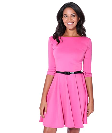 8f1d6e59f9 KRISP Womens 3 4 Sleeves Skater Fit and Flare Belted Mini Dress at Amazon  Women s Clothing store