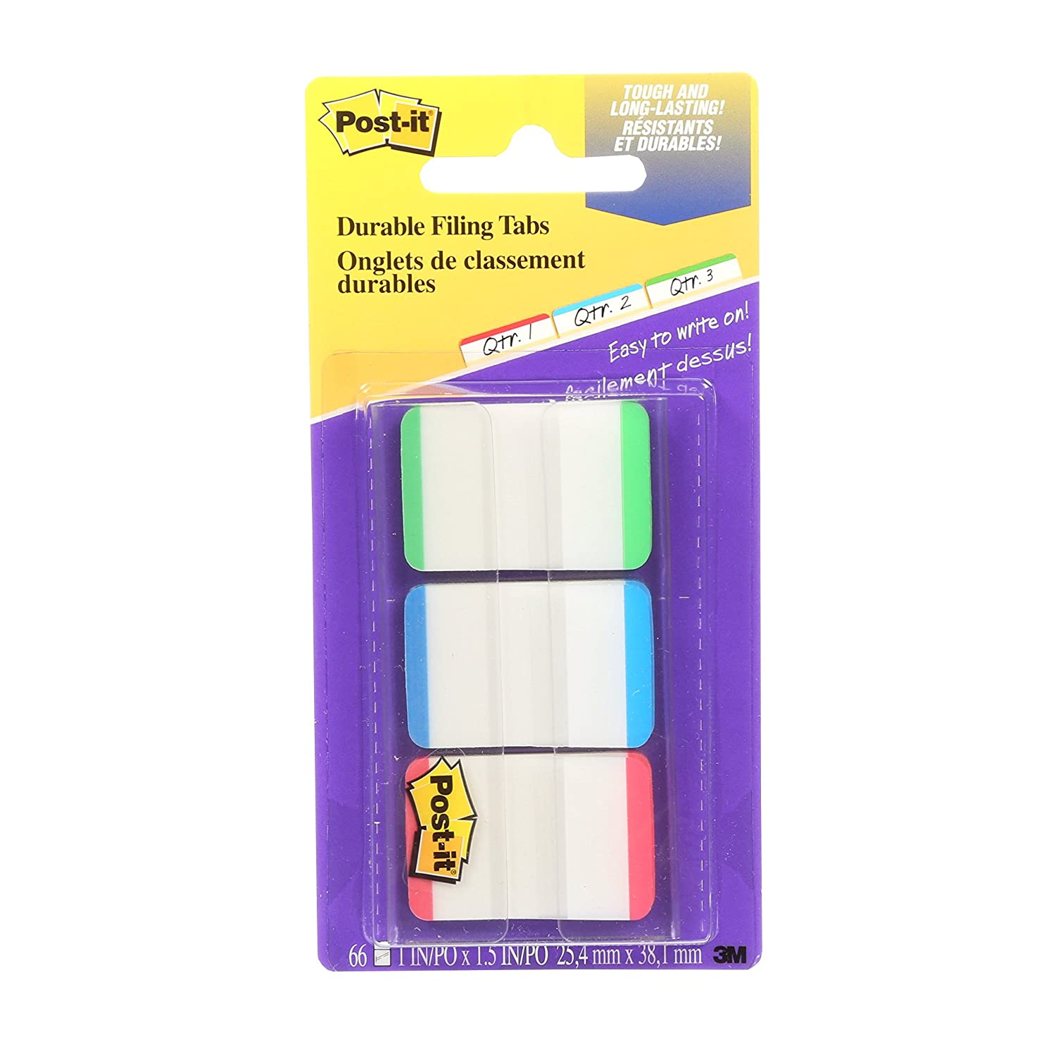 Post-it Tabs, 1 x 1.5, Green, Blue, Red, 66 Tabs/Pack 1 x 1.5 3M Canada Company 686L-GBR