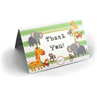 Adorox 24 Pieces Baby Jungle Zoo Animals THANK YOU Cards Baby Shower Birthday Party Safari Theme Boys Girls
