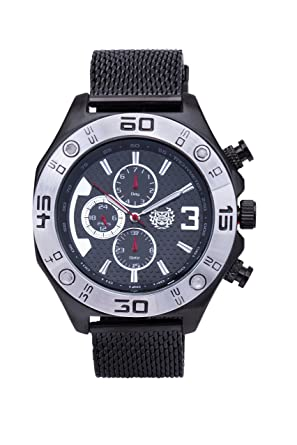 ShoppeWatch Mens Watch Reloj Black Mesh Band Large Face Multifunction Day Date Sports Edition AQ202827G