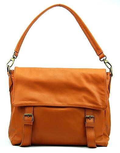 035d722bcc OH MY BAG Cartable cuir lisse Kangri cognac fonce: Amazon.fr ...