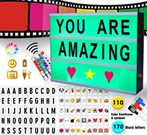 JM Pro Color Changing Cinema Light Box with Letters, Emojis, Numbers & Markers | Remote-Controlled Marqee Cinematic Board Sign Light Box | LED Light Up Letter Box Sign Premium Decor…