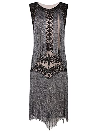 daeea120eb7 VIJIV Women s Flapper Dresses 1920s Gatsby Full Fringed Vintage Cocktail Dress  Black Beige