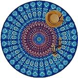 Moya Life Feather Peacock Round Mandala Tapiz, Hippie Hippy Style, India Boho Gypsy Cotton