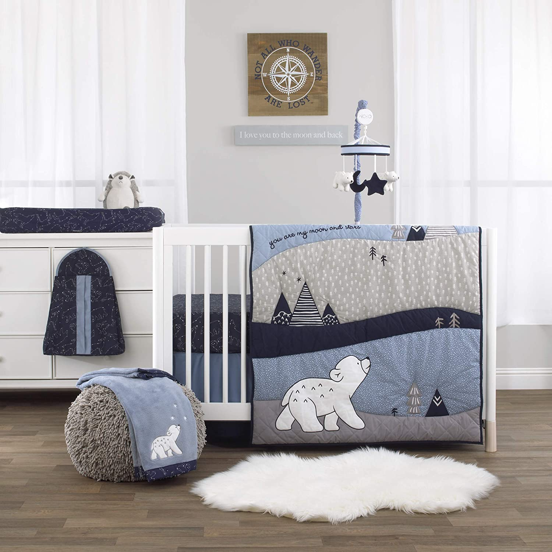 NoJo Cosmo Bear - Navy, Light Blue, White & Grey 4Piece Nursery Crib Bedding Set - Comforter, Fitted Crib Sheet, Dust Ruffle, Diaper Stacker, Navy, Light Blue, White, Grey