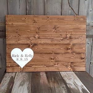 43LenaJon Wedding Guest Book, Guest Book Alternative, Rustic Wedding guestbook Wood Sign,Hanging Wooden Label for Garden Decor