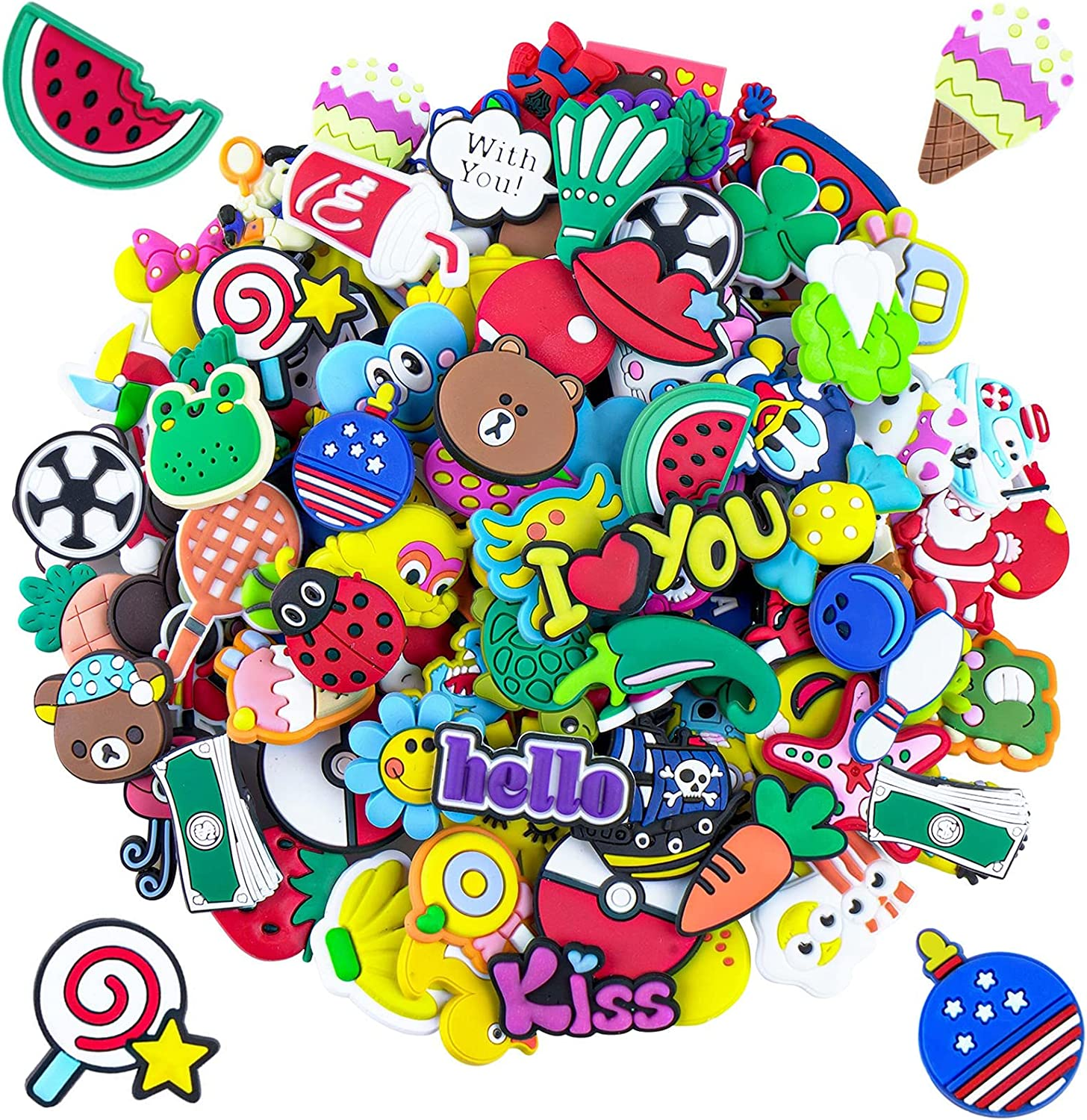 100pcs Different Shoe Charms for Clog Shoe,Wristband Bracelet Decoration /& Charms Party Gift for Kids and Teens Girls