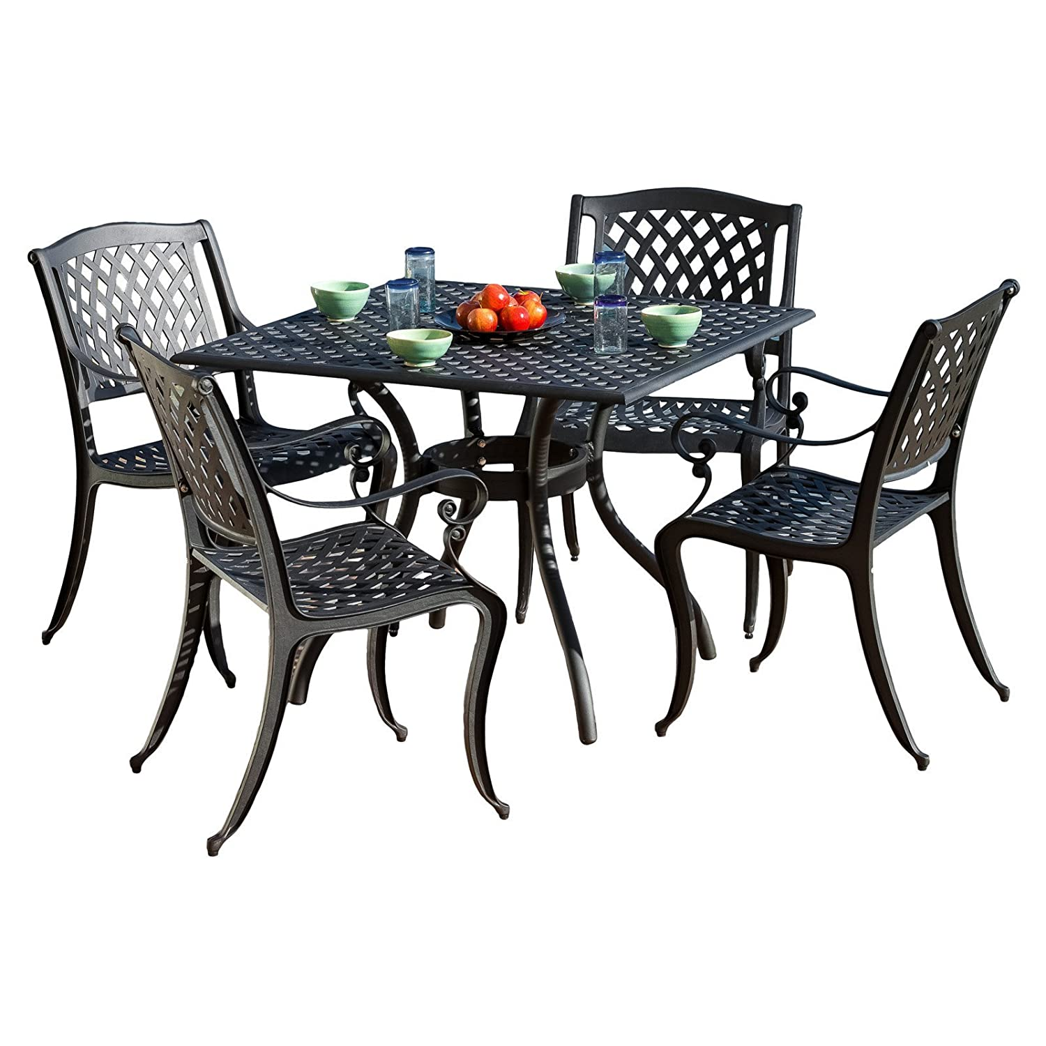 Amazon com best selling home decor furniture john aluminum 5 piece square patio dining set garden outdoor