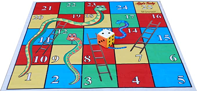 Atpata Funky 25 Blocks 5x5 Feet Snakes & Ladders with Dice