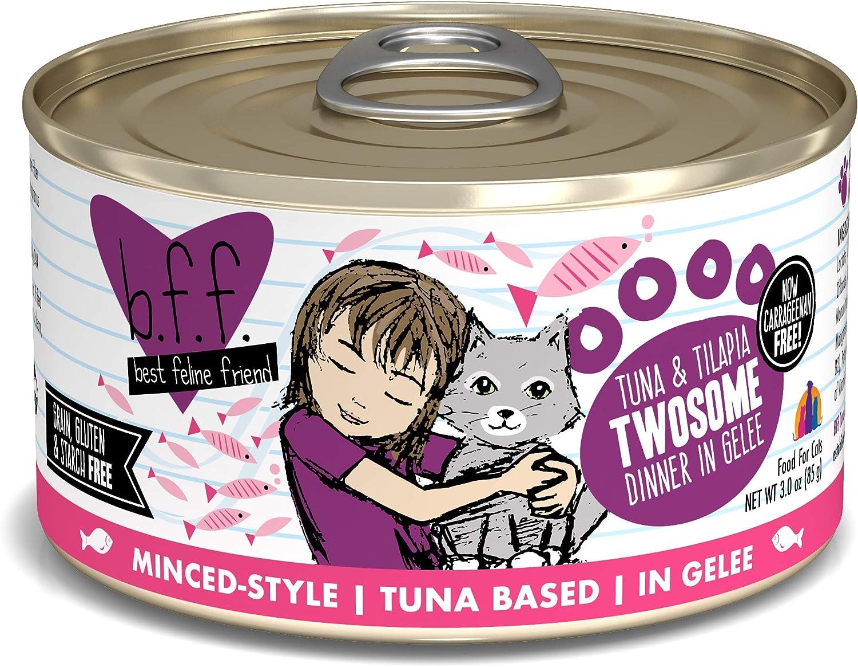 Best Feline Friend (B.F.F.) Grain-Free Cat Food by Weruva, Tuna & Tilapia Twosome, 3-Ounce Can (Pack of 24)