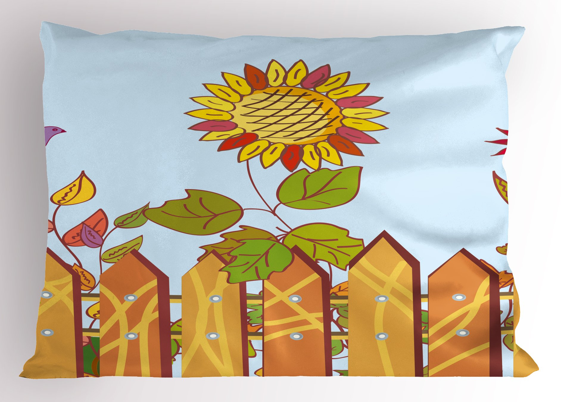Lunarable Vineyard Pillow Sham, Sunflowers Behind The Wood Fences and Birds in Air Spring Daisy Blooms Graphic, Decorative Standard Size Printed Pillowcase, 26 X 20 inches, Multicolor by Lunarable (Image #1)