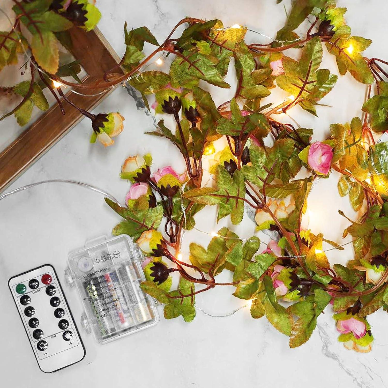 LiteBee LED Rose String Lights Artificial Rose Ivy Garland String Lights 6.5ft 20 LEDs Battery Operated String Lights for Home Garden Party Parasol Wedding Decorations