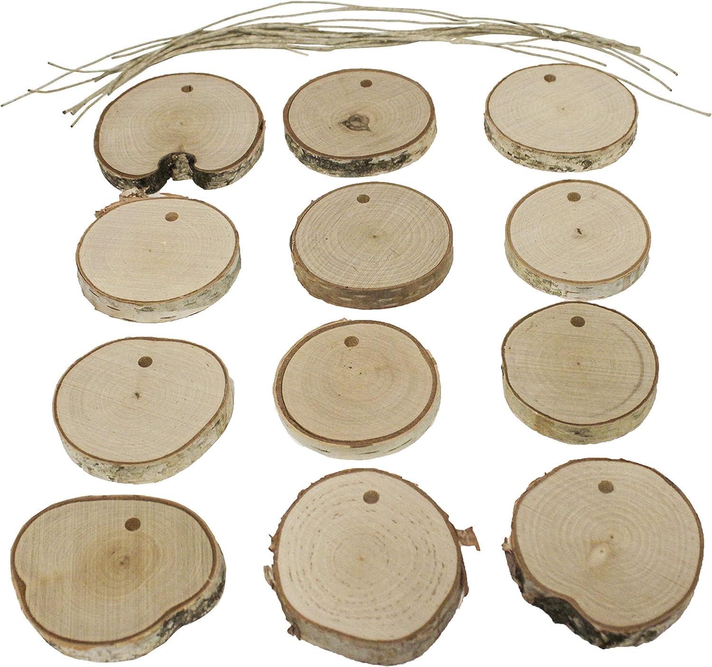 Walnut Hollow Natural Birch Assortment, 12 Pieces DIY Ornaments, Wood