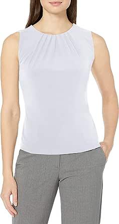 Calvin Klein Women's Solid Pleat Neck Sleeveless Cami