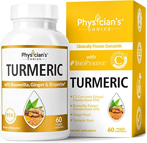 Organic Turmeric Curcumin C3 Complex – Bioperine Black Pepper, Boswellia Ginger Clinically Proven C3 Turmeric 95 Standardized Curcuminoids – Inflammation Joint Supplement, 60 Capsules