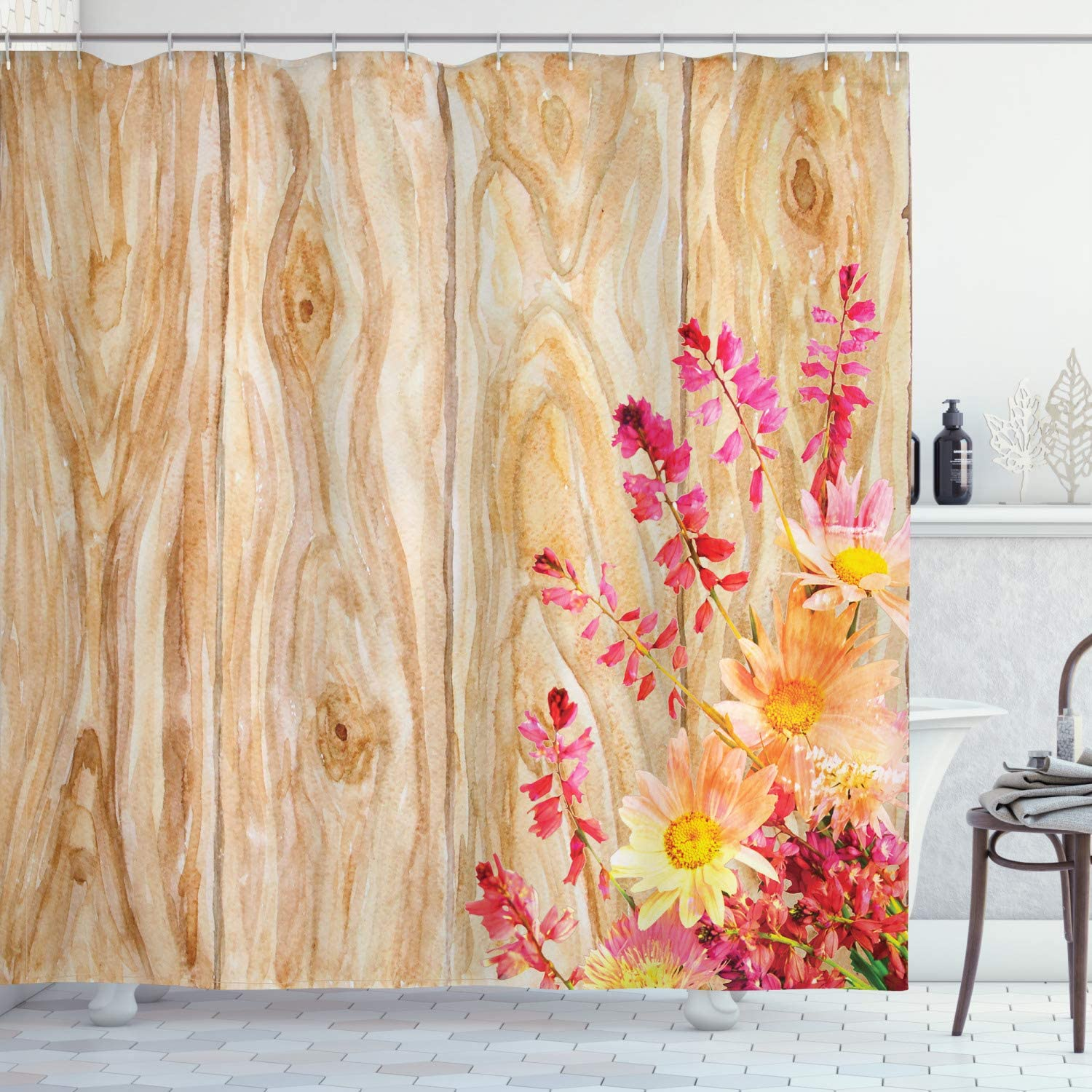 Ambesonne Rustic Home Decor Shower Curtain, Watercolor Bouquet of Wild Flowers Daisy Floral Beauty in Spring Theme Image, Fabric Bathroom Decor Set with Hooks, 70 Inches, Multi