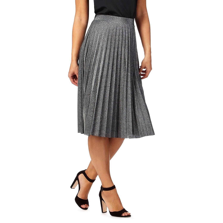Rjr.John Rocha Womens Grey Metallic Pleated Skirt