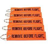 Remove Before Flightキーチェーン–ネオンオレンジ/ブラック5点ロータリー13b1
