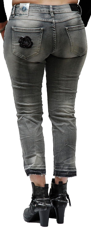 Blue Monkey Jeans, Damen, Manie Flower, 7/8 Länge, BM-3739, Grau (W28):  Amazon.de: Bekleidung
