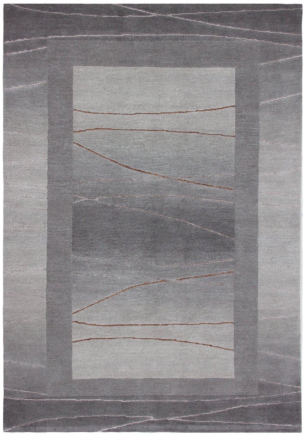 Sona-Lux Nepal Teppich handgeknüpft silber