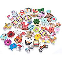 EMAAN Assorted Animal Buttons Vintage Animal Wooden Buttons, 2 Hole Craft Buttons Sewing DIY Crafts Decoration, Random…