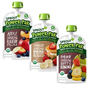 Sprout Organic Stage 4 Toddler Food Pouches, Variety Pack, 4 Oz, 18 ct.6 Superblend w/Apple Blueberry Plum, 6 Strawberry w/Superblend, Banana & Butternut Squash, 6 Pear w/SuperblendBerry & Banana