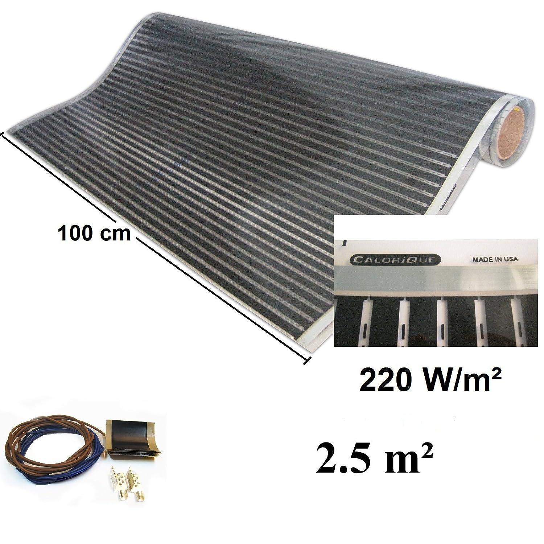 230 volt Calorique calefactor por infrarrojos pantalla el/éctrica de suelo radiante 100 cm Set 220 W//M/² de suelo radiante 0,5-20 m/²