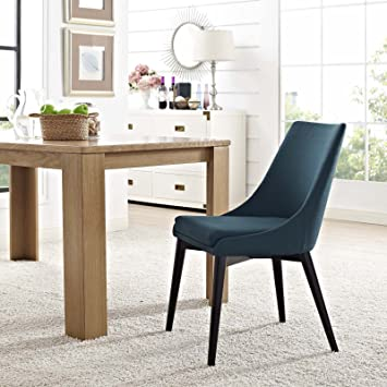 Modway Viscount Mid-Century Modern Upholstered Fabric Kitchen and Dining  Room Chair in Azure
