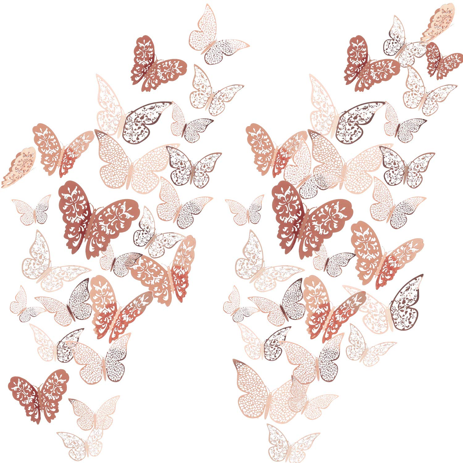 72 Pieces 3D Butterfly Wall Decals Sticker Wall Decal Decor Art Decorations Sticker Set 3 Sizes for Room Home Nursery Classroom Offices Kids Girl Boy Bedroom Bathroom Living Room Decor (Rose Gold) by Bememo